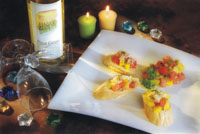 Bruschetta with Mangoes and Tomatoes in Paradise Mango Rum Liqueur Marinade  