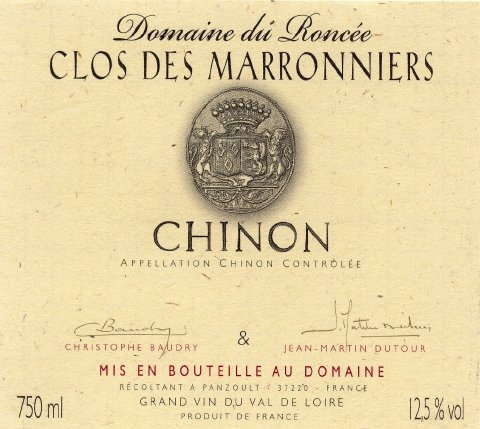 Cuvée du Clos des Marronniers  Wine by Maison BAUDRY - DUTOUR  - Wine Country: France - Wine Region: Loire - Wine Type: CABERNET FRANC - Wine Category: Red Wines