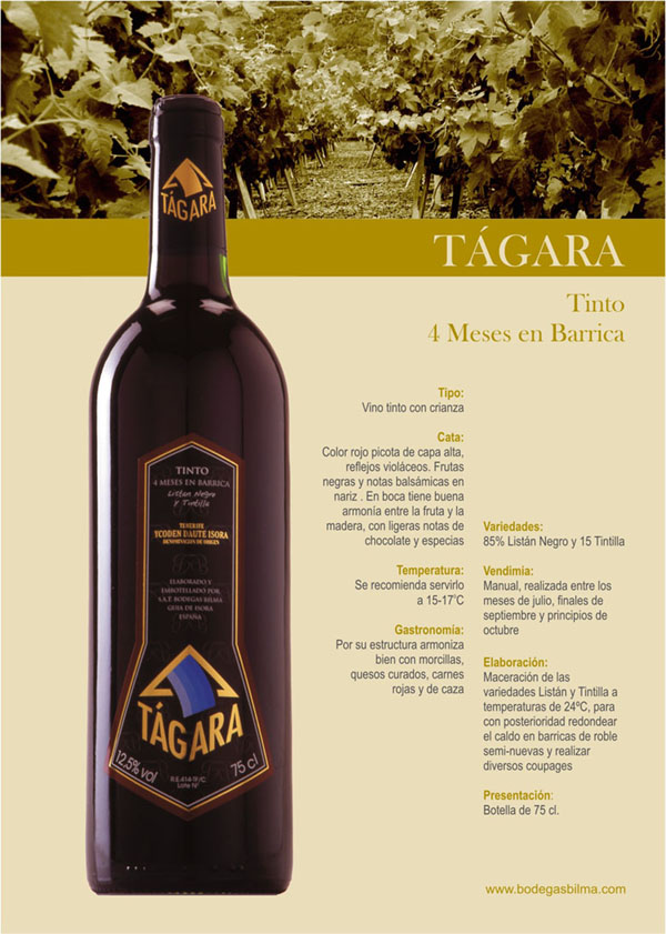 TAGARA TINTO Wine by Domaine viticole Bilma  - Wine Country: Spain - Wine Region: Canary islands - Wine Type: Listan Negro - Wine Category: Red Wines